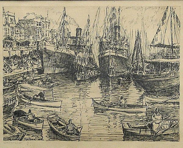 Carl Heilborn (American, 1906-1954) Waterfront, 1932; Harbor View, 1931 (2) first, sight 8 1/2 x 10 1/2in; second, sight 7 1/4 x 9 3/4in