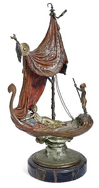 A Franz Bergman cold painted bronze figural lamp: Cleopatra's Barge circa 1900