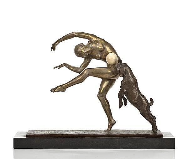 Pierre-Alexandre Morlon (French 1878-1951) Dancer with Goat, 1920s
