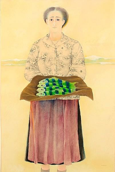 Morris Broderson (American, born 1928) Fish Seller, Lisbon II, 1968 39 x 25in