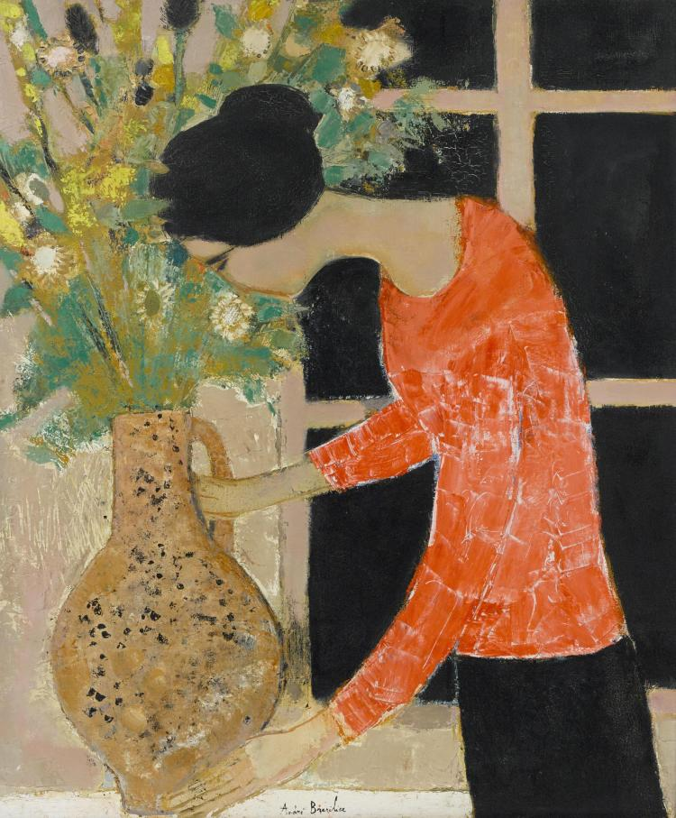 Chantal aux fleurs39 3/8 x 31 7/8 in (100 x 81 cm)