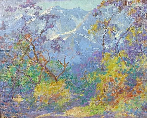 H. Raymond Henry (American, 1882-1974) San Gabriel Mountains 16 x 20in