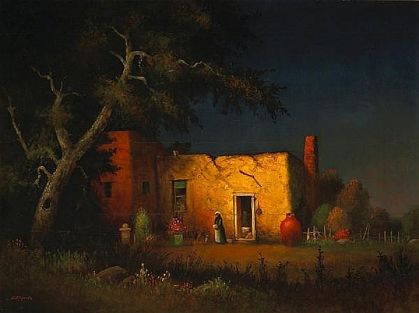 Will Sparks (American, 1862-1937) Adobe in moonlight 30 x 40in