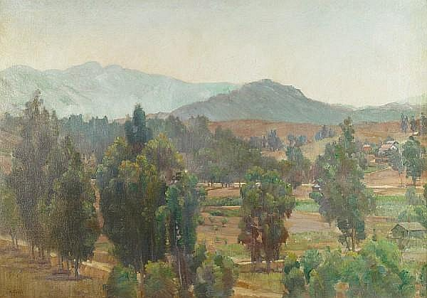 Charles A. Fries (American, 1854-1940) Houses in Escondido Valley 24 x 34in