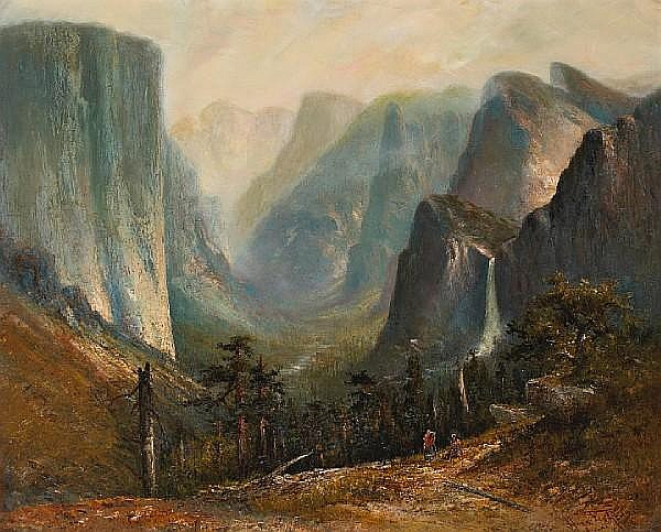 Hugo Anton Fisher (American, 1854-1916) A view of the Yosemite Valley 29 x 36in