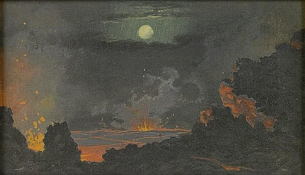 Jules Tavernier (1844-1889) The heart of a volcano under a full moon, 1888 7 x 12in