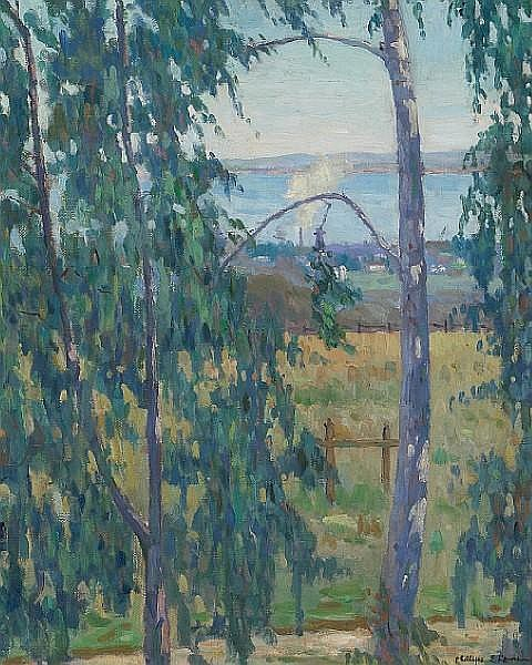 Phillips Frisbee Lewis (American, 1892-1930) 'Looking through the trees' 24 x 20 1/4in