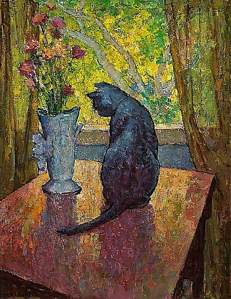 Mischa Askenazy (Russian/American, 1888-1961) 'Cat and Vase' 36 x 28in