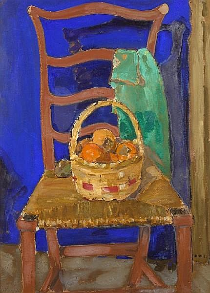 Clarence Hinkle (American, 1880-1960) A basket of persimmons on a chair 28 x 21in