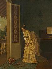 Auguste Toulmouche (French, 1829-1890) The surprise bouquet 18 1/2 x 14 1/4in