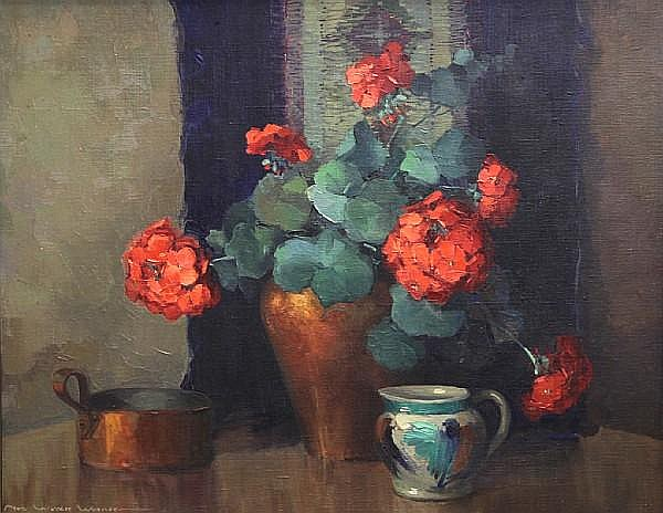Nell Walker Warner (American, 1891-1970) Still life with geraniums 21 x 26in