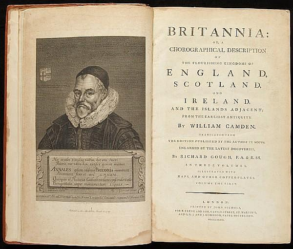 CAMDEN, WILLIAM. 1551-1623. Britannia: or, a Chorographical Description of the Flourishing Kingdoms of England, Scotland, and Ireland and the Islands Adjacent; from the Earliest Antiquity. London: John Nichols, 1789.