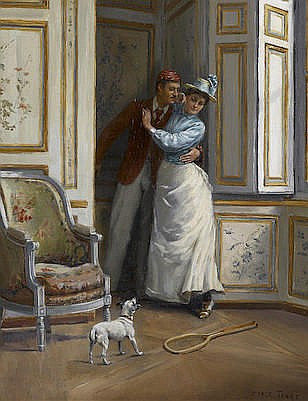 Charles Henry Tenre  (French, 1864-1926)  A surprise 17 x 14 1/4i
