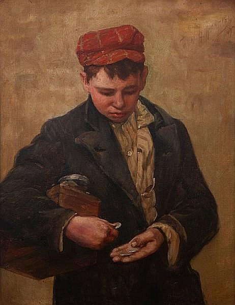 John H. Henrici (American, 1874-1958) A Young Boy Counting his Money 18 x 14in