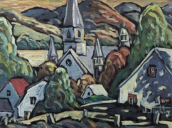 Jacques Tremblay (Canadian, 20th century) Un petit village au Québec 12 3/16 x 16in