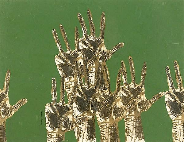 Arthur Secunda (American, 1927) Untitled (Raised hands) 17 1/4 x 22 1/2in