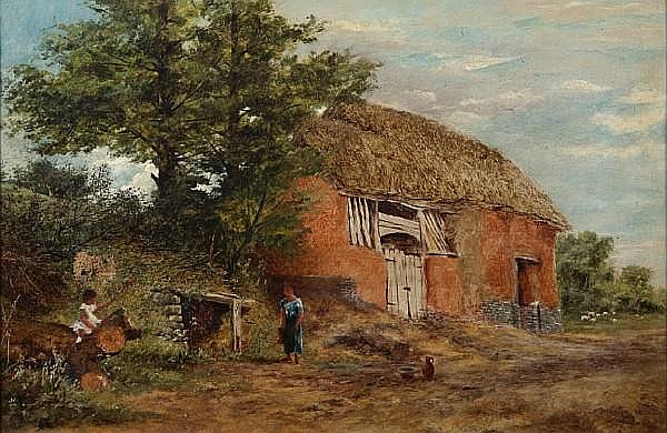 George Shaw (British, 1843-1915) An English farm scene with children playing in the foreground 14 x 21in