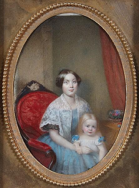 Attributed to Ann Hall (American, 1792-1863) A portrait of a mother and child 8 x 5in