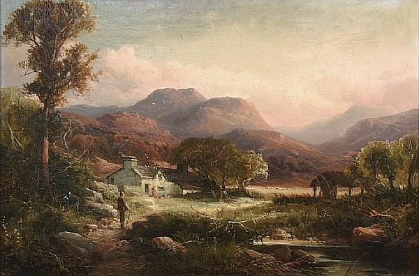 Tom Seymour (British, 19th Century) Figures on a path in a mountainous landscape with a cottage in the distance; A cottage in a mountainous landscape with a figure approaching on a path (a pair) each 16 x 24in