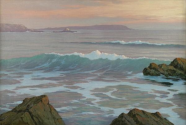 Roi Clarkson Colman (American, 1884-1945) Laguna Sunset (Over the Rocks-) 20 x 30in