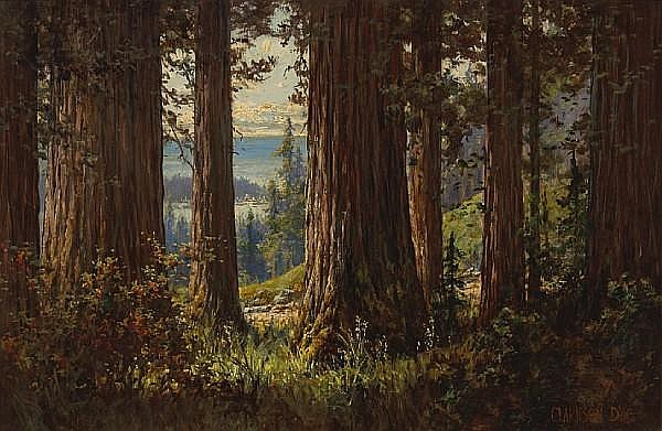 Clarkson Dye (American, 1869-1955) View through the trees 20 x 30in