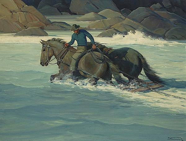 Herman Ernest Struck (American, 1887-1954) Fording the River 25 1/4 x 33in