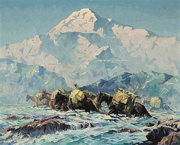 Eustace Paul Ziegler (American, 1881-1969) 'Mt. McKinley and Pack Horses' 16 x 20in
