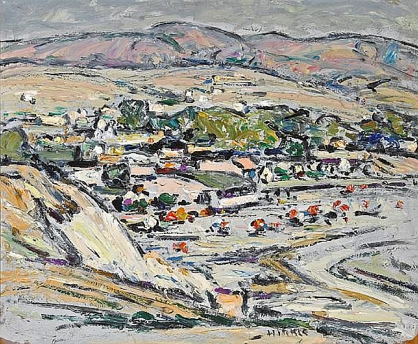 Clarence Hinkle (American, 1880-1960) The Village - Laguna 18 x 22in