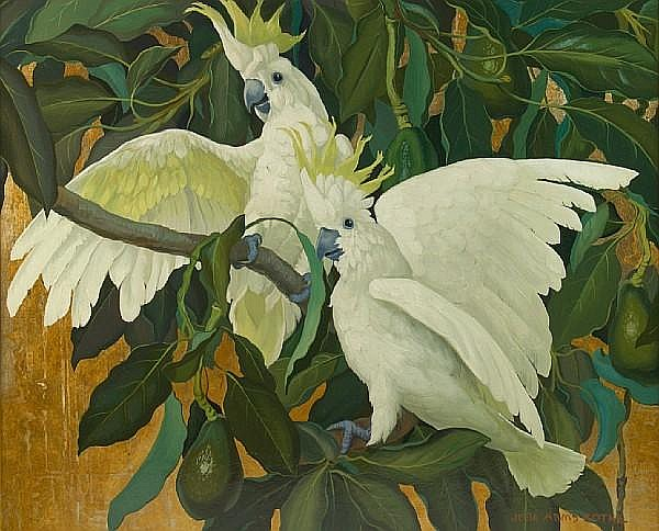 Jessie Arms Botke (American, 1883-1971) A Pair of Cockatoos 26 1/4 x 32in