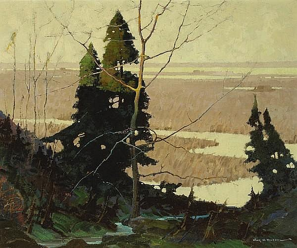 Roy Martell Mason (American, 1886-1972) Turkey Point marshes 25 x 30in