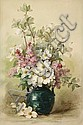 Paul de Longpre (American, 1855-1911) Lilacs and Dogwood in a Blue Vase 26 x 17in, Paul DeLongpré, Click for value