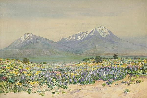George Elbert Burr (American, 1859-1939) Spanish Peaks at Midday 14 1/4 x 21 3/4in