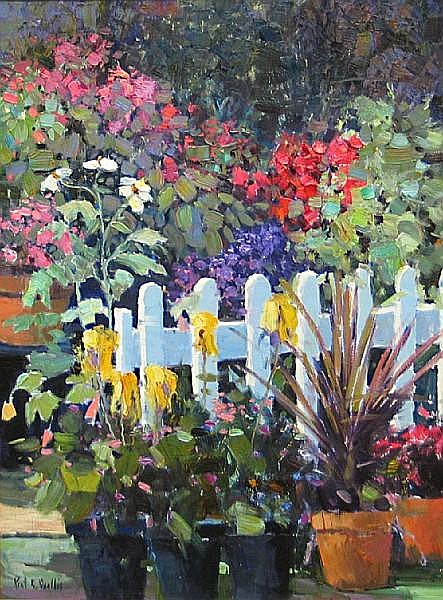 Kent R. Wallis (American, born 1945) Out by the fence 40 x 30in