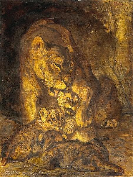 Cornelis Jan Mension (Dutch, 1882-1950) A lioness and her cubs 32 x 24 1/4in