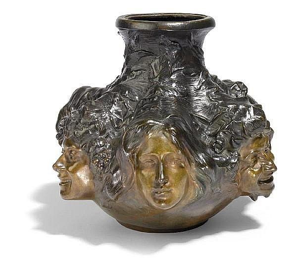 Antonin Larroux (French, 1859-1937) figural vase, circa 1900