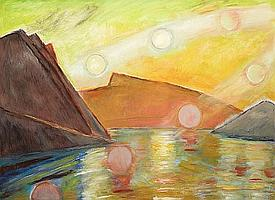 Frederick S. Wight (American, 1902-1986) Many Suns West, 1983 48 x 66in