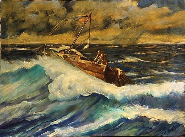 Hugo Ballin (American, 1879-1956) Adrift 30 x 40in unframed