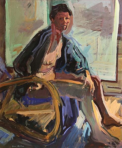 Geer Morton (American, born 1935) Nude with green windows, 1978 36 x 30in