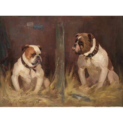 Agnes M. Cowieson (British exh. 1882-1940) Bulldogs at the Show 11 x 15 1/4 inches (28 x 38 cm.)