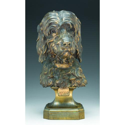 Paul Comolera (French 1818-1897) Champion Marco patinated bronze Height with base: 20 inches (50.8 cm)
