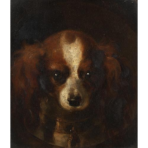 Henry Liversege  (British 1803-1832)  Head of a King Charles Spaniel 7 1/4 x 6 3/4 inches (18.5 x 17.5 cm.)