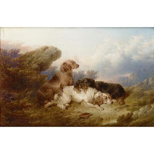 Paul Jones (British fl. 1856-1879) Setters in a landscape; Terriers each 8 x 12 inches (20.5 x 30.5 cm.) (2)