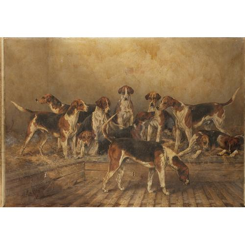 Henry Frederick Lucas-Lucas (British d.1948) A group of Percy hounds 28 x 40 inches (71 x 102 cm.)