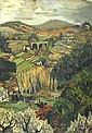 Sir Francis Cyril Rose (British, 1909-1979) Farmhouses in a valley 40 x 28 1/2in unframed, Francis Rose, Click for value
