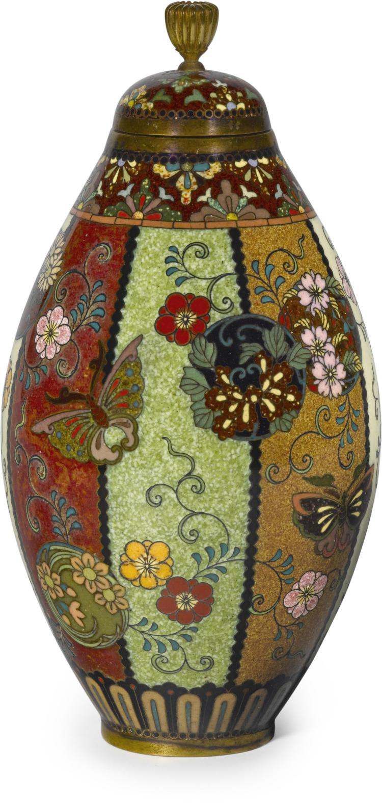 A small cloisonné enamel vase and cover