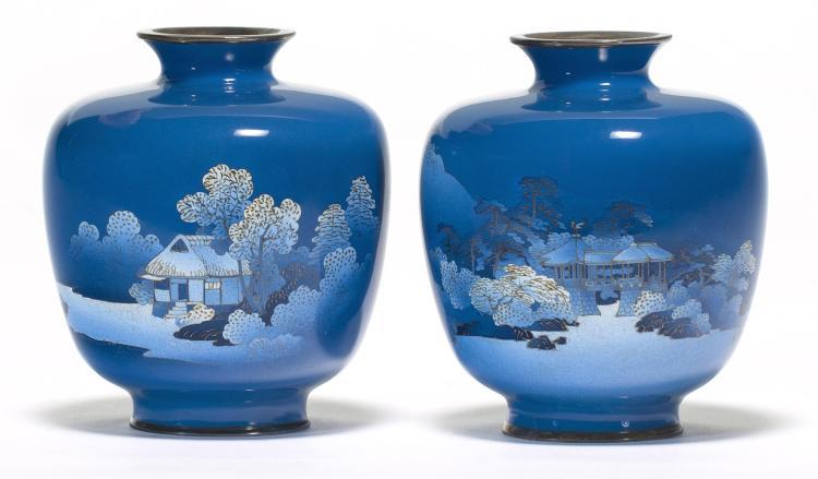 A pair of fine cloisonné enamel vases