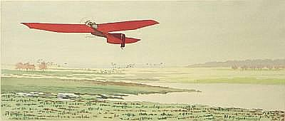 'Monoplane Rouge', hand colored lithographic print after E Leon Dufour,