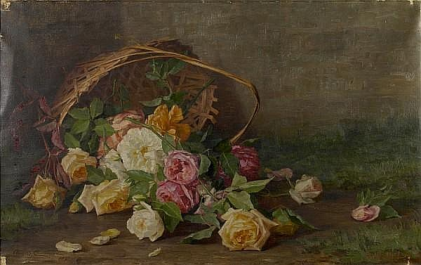 Alice Brown Chittenden (American, 1859-1944) A basket of pink, yellow and red roses, 1890 24 x 37in