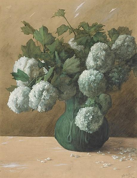 Albert Robert Valentien (American, 1862-1925) White flowers in a green vase, 1906 sight: 27 x 20 3/4in