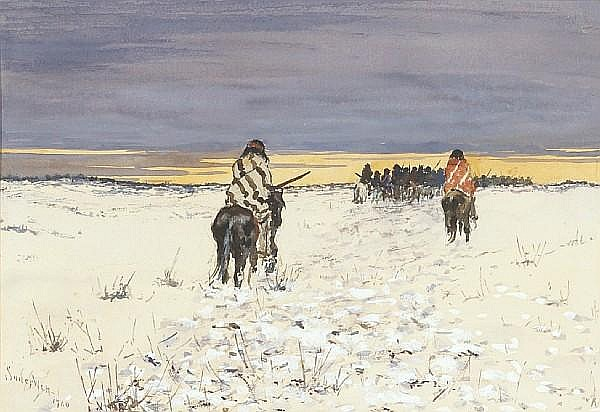 Frank Paul Sauerwein (American, 1871-1910) Indians on horseback in the snow, 1900 sight 6 1/2 x 9 1/2in